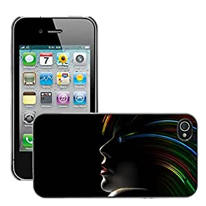 Super Stellar Slim PC Hard Case Cover Skin Armor Shell Protection // M00050389 black aero rainbow hair // Apple iPhone 4 4S