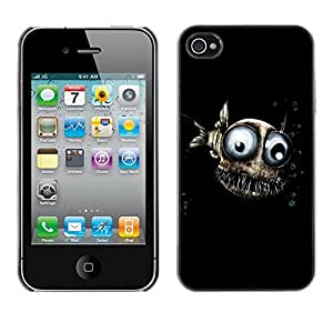 PC/Aluminum Funda Carcasa protectora para Apple Iphone 4 / 4S Design Evil Fish / JUSTGO PHONE PROTECTOR