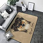 Floor mats for Kids Collie Dog Animal Cute face. Vector Mahogany Sable Rough Collie Puppy Head Portrait. 63 x 48 in Rugs for Kitchen Floor 6