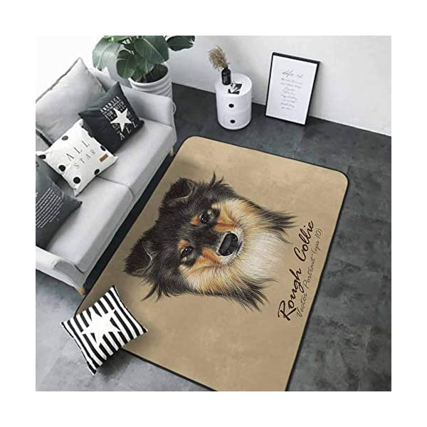 Floor mats for Kids Collie Dog Animal Cute face. Vector Mahogany Sable Rough Collie Puppy Head Portrait. 63 x 48 in Rugs for Kitchen Floor 1