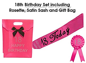 Hot Pink 18 Today Satin Sash 18th Birthday Rosette With