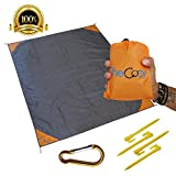 Compact Outdoor Sand Free Picnic / Beach Blanket - Ultra Strong Parachute Nylon, Stylish & Durable, Best Waterproof Mat - 4 Anchor Loops & Stakes + 4 Pockets - Also Used as Camping Gear, Shade Tarp