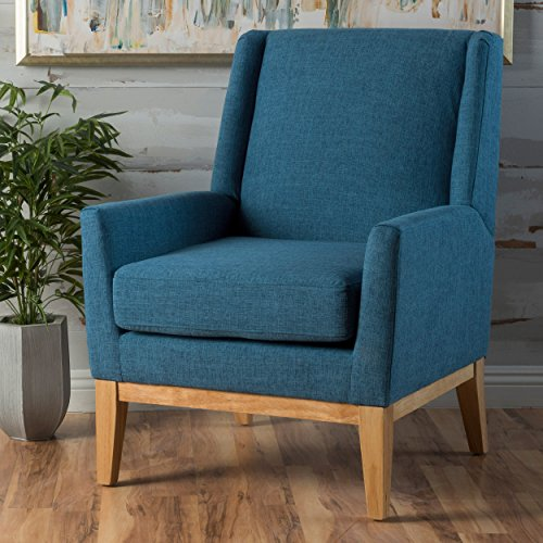 (Archibald | Mid Century Modern Fabric Accent Chair | in Blue)
