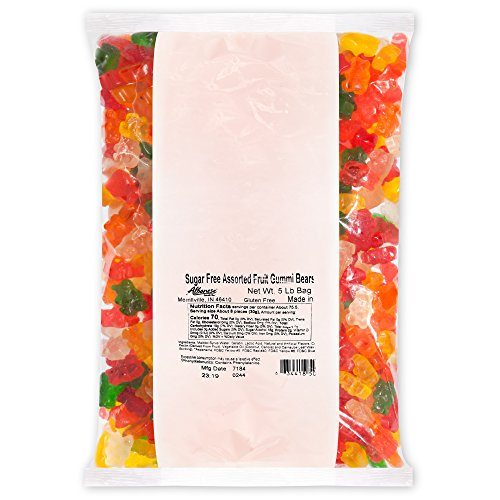 Albanese Candy, Sugar Free Assorted Fruit Gummi Bears, 5-pound Bag