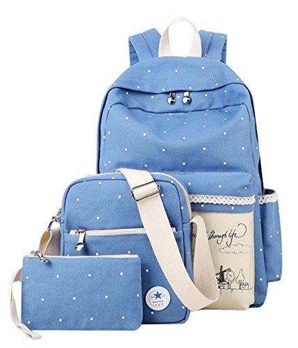 JiaYou Canvas Laptop Bag Shoulder Bag Pen Bag 14L School Backpack 3 Sets(Sky Blue ()