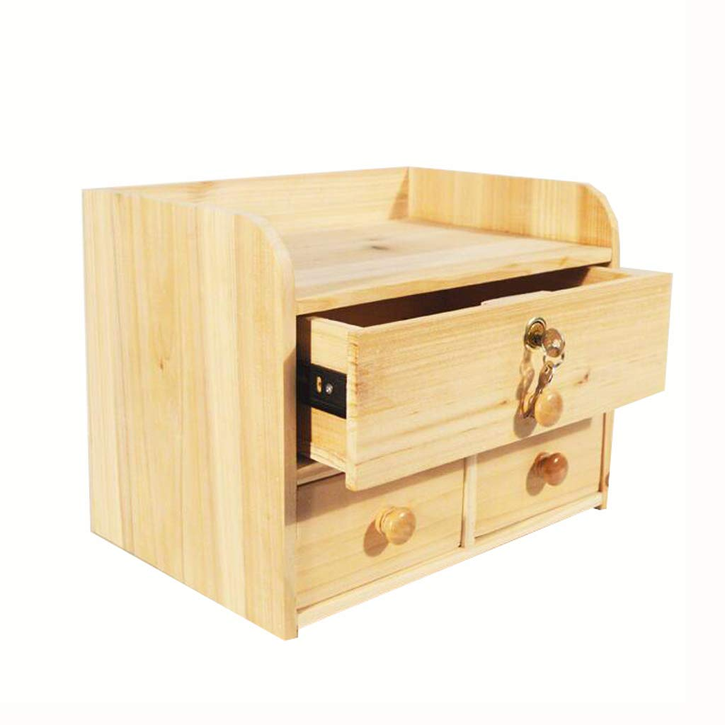 File cabinets LITING Storage Box with Lock Solid Wood with Lock Drawer Type Desktop ID Box Free Assembly with Lock Storage Box