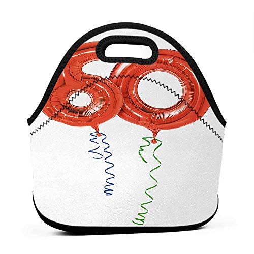 Neoprene Lunch Bag 60th Birthday,Sixty Years Old Party Theme Balloons with Curly Rope Ending Image,Red Green and Blue,custom lunch bag for kids