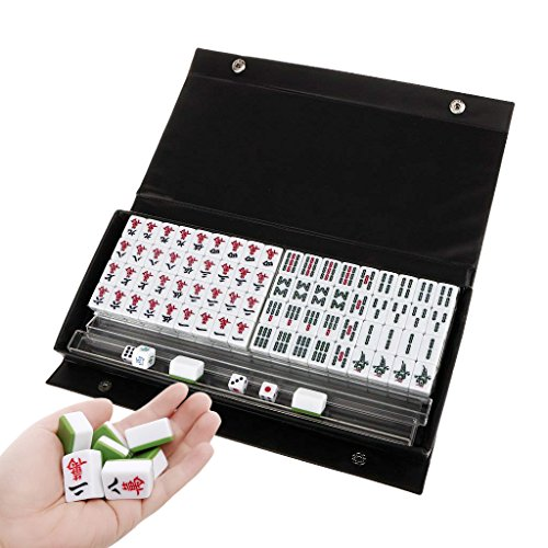 Drizzle Mini Mahjong Traditional Chinese Version Game Set Portable 144 Tiles Acrylic Material Mah-Jongg Travel Family Leisure Time