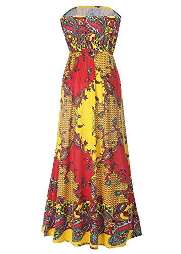 Vestido largo sin tirantes de la flor de Boho de la impresión floral de las mujeres de la playa C0065-Amarillo