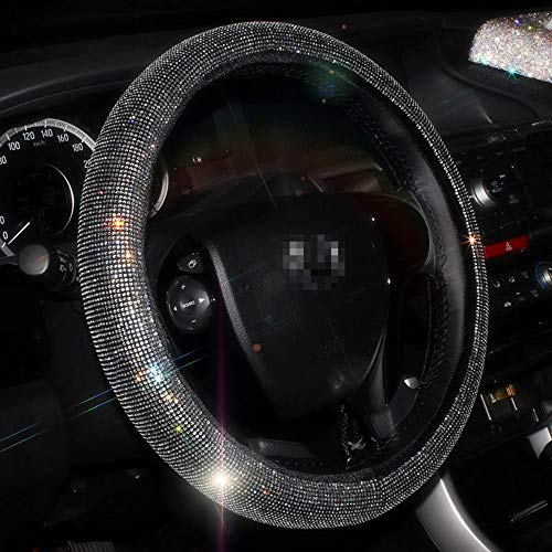 - U&M Bling Bling Auto Steering Wheel Cover, Soft Plush Velvet Crystal Rhinestone Steering Wheel Cushion Protector for 15 inch
