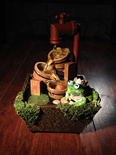 Frog Prince - Fairy Garden or Pond Miniature Frog Sculpture With A Golden Crown On A Rustic Moss Covered Tabletop Fountain