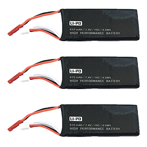 Reikirc 3pcs 7.4V 610mAh Battery for Hubsan H502S H502E Plus RC quadcopter drone spare parts by Reikirc