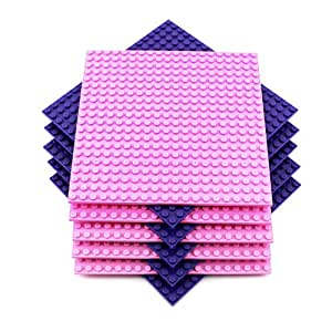 "6.25x6.25 Inch Pink & Purple DP & Friends Inspired Brick Building Base Plates (10 pack), Compatible with all Major Building Block Brands (6.25""x6.25"", Pink, Purple, 5 Each)"