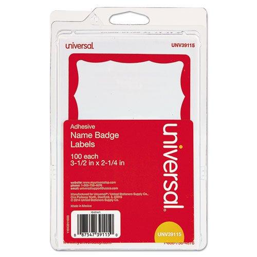 Red Name Badge Labels - C-Line Pressure Sensitive Peel and Stick Name Badges, Red Border, 3.5 x 2.25 Inches, 100 per Box (92264)