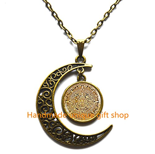 Maya Diamond Necklace (Mayan Calendar pendant, Mayan Calendar Jewelry, Aztec Calendar Necklace, Mayan Pendant, Mayan Jewelry, glass dome pendant, mens necklace)