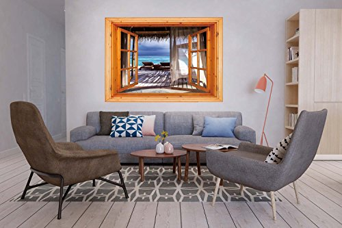 3D Depth Illusion Vinyl Wall Decal Sticker [ Coastal Decor,Luxury Romantic Wooden Bungalow on the Water Deckchairs Maldives Beach,Brown Aqua Blue ] Window Frame Style Home Decor Art Removable Wall Sti by iPrint (Image #3)