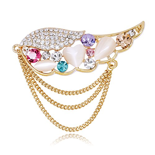 DMI Beautiful Jewelry Gold Tone Alloy Angel Wings with Colorful Crystal Brooch Opal Tassel Chain Pins