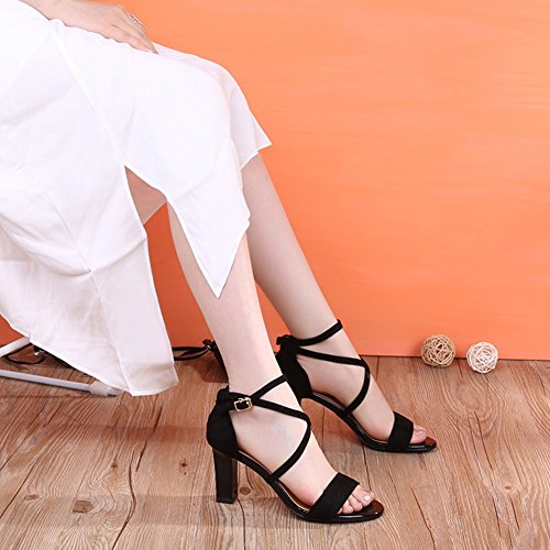 ZCJB Woman Thick Women's Sexy Shoes Black with Toe Summer Sandals Roman High Heels Shoes Open BqdBRx