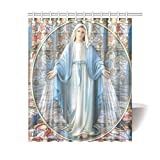 Thanksgiving/Christmas Gifts Christian Religious Virgin Mary Waterproof Bathroom decor Fabric Shower Curtain Polyester 60 x 72 inches