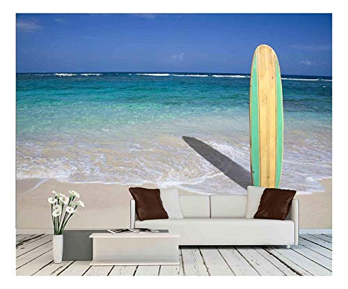 wall26 - Vintage Surfboard on The Beach - Removable Wall Mural | Self-Adhesive Large Wallpaper - 66x96 inches