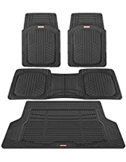 Motor Trend Premium FlexTough All-Protection Cargo Liner - DeepDish Front & Rear Mats Combo Set – w/Traction Grips, Black