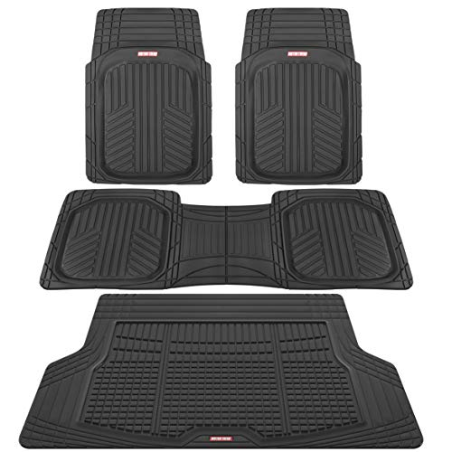 Motor Trend Premium FlexTough All-Protection Cargo Liner - DeepDish Front & Rear Mats Combo Set - w/ Traction Grips, Black
