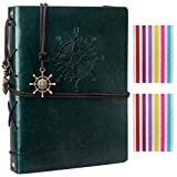 Woodmin Superior Leather Navigation Theme DIY 60 Pages Photo Album, Anniversary Scrapbook, Wedding Gift (Green)