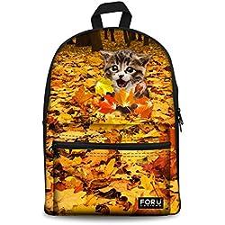 Cat Backpack Cute Cat Kitten Print Canvas Girls Shoulder School Backpack  Daypack Book Bag 6cce288de9d7e