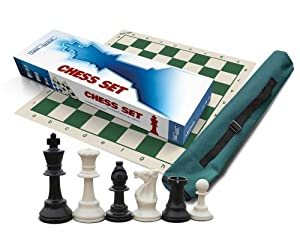 """Premium Chess Set, Triple Weighted Chess Pieces (34 pieces Black/White - 2 extra Queens) for Schools, Clubs and Tournaments with 20"""" x 20"""" Green Roll-Up Vinyl Chess Board, Green Canvas Tube (Quiver) Tote Bag and Instructions on How to Play Chess"""