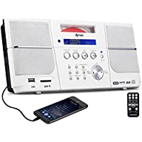 DPNAO CD Player Portable Boombox with FM Radio Clock Alarm(White)