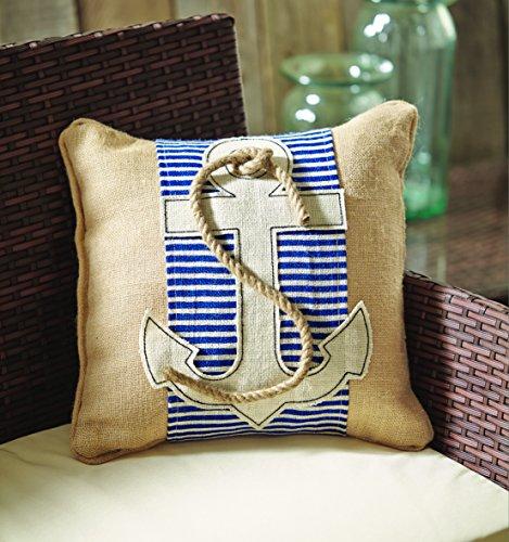 Burlap nautical throw pillow with rope wrap set