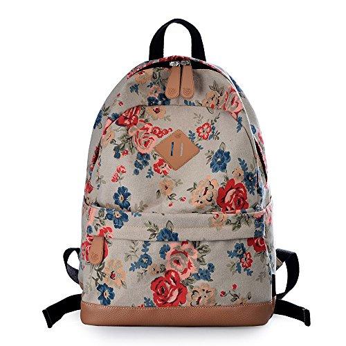 Vintage Floral Ladies Canvas Bag School Bag Backpack - 7