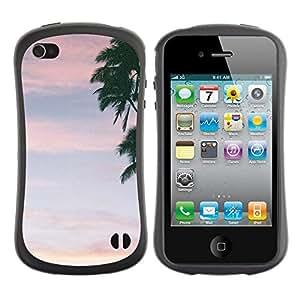 """Hypernova Slim Fit Dual Barniz Protector Caso Case Funda Para Apple iPhone 4 / iPhone 4S [Nubes de verano Árbol Cielo Rosa""""]"""