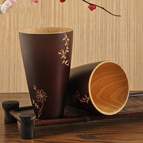 Gotian New Wooden Cup Log Color Handmade Natural Wood Coffee Tea Beer Juice Milk Mug, Figure Fir Wood, Healthy and Natural, Good Gift for Your Friends and Family