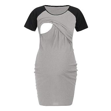 9e90490804e64 Nursing Dresses Breastfeeding for Wedding,Women's Maternity Dress Nursing  Nightgown Breastfeeding Nightshirt Sleepwear,Gray