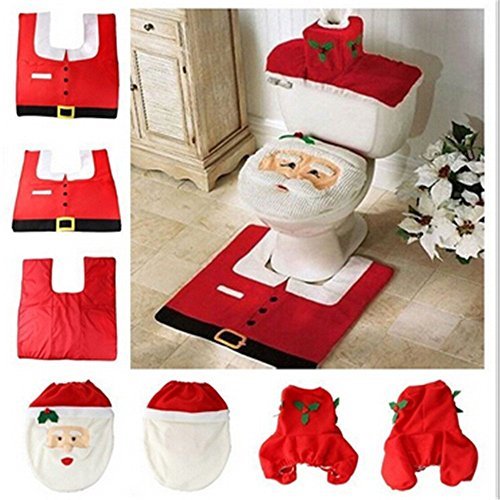 CFZC Happy Santa Toilet Seat Cover and Rug Set Christmas Decorations(3 (Halloween 3 Gif)