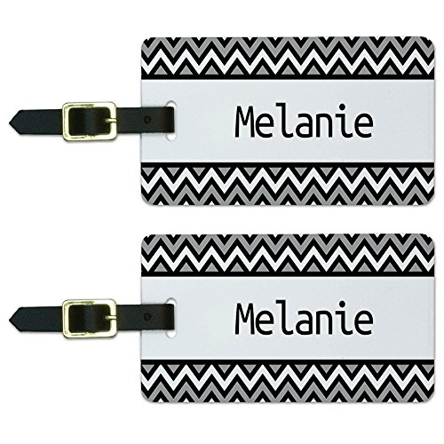 Melanie Black and Grey Chevrons Luggage Suitcase Carry-On ID Tags Set of 2