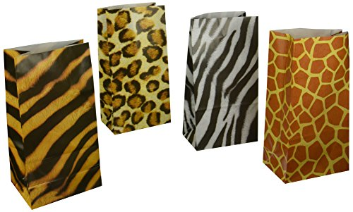 Fun Express - Animal Print Paper Bags - Party Supplies - Bags - Paper Treat Bags - 12 Pieces ()
