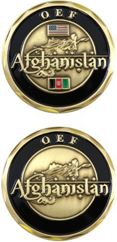 United States Military US Armed Forces Operation Enduring Freedom OEF Afghanistan - Good Luck Double Sided Collectible Challenge Pewter Coin ()