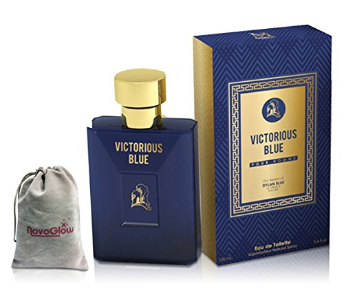 Versace Inspired By (Victorious Blue Perfume for Men, 3.4 oz,by Mirage Brand Fragrance Inspired by DYLAN BLUE BY VERSACE FOR MEN with NovoGlow Suede Pouch Included)