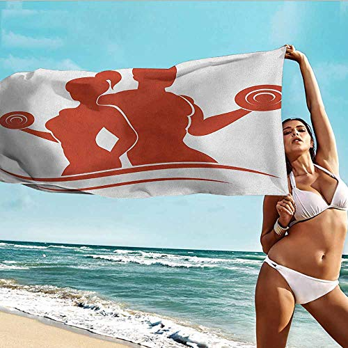 Antonia Reed Quality Beach Towel Fitness,Muscled Man and Woman Silhouettes Holding Dumbbells Gym Health Strength Activity,Orange White,Bathroom Body Shower Towel Bath Wrap 28
