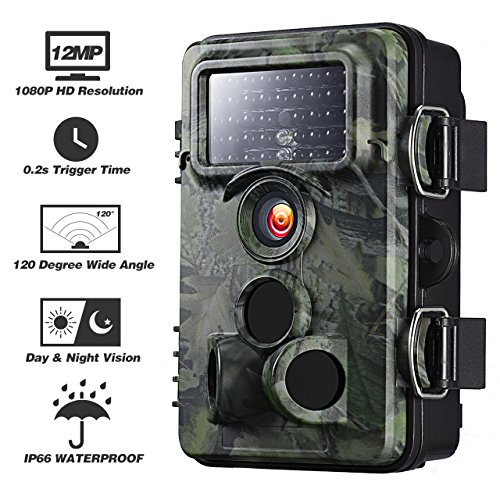 Yantop Upgraded Trail Camera with 0.2s Trigger Time 120 Wide Angle 12MP 1080P Night Vision Game & Hunting Camera Low Glow Infrared 42 PCS LEDs 20m65ft IP66 Spray Waterproof Wildlife Camera
