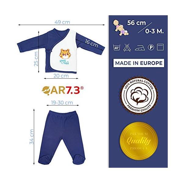 QAR7.3 Completo Vestiti Neonato 0-3 mesi - Set Regalo, Corredino da 5 pezzi: Body, Pigiama, Bavaglino e Cuffietta (Blu… 3