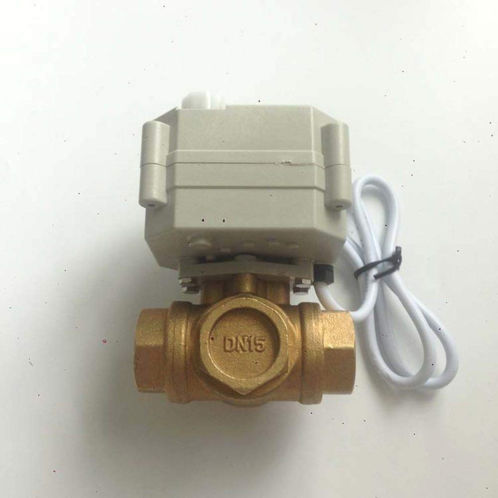 Horizontal 3 Way DN15 G1//2 NPT Brass Mini Motor actuated Valve L Flow Electric Ball Valve DC9-24V CR302 3 Wires Controller