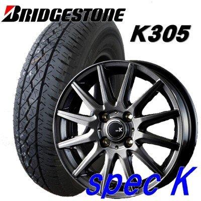 145R12 6PR 軽トラックバン用タイヤ4本セット ブリヂストン K305 12X4.00B 4穴 PCD:100 spec K/スペック K B079Q6GG24