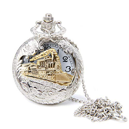 Aland Vintage Steam Train Antique Chain Quartz Locomotive Pendant Pocket Watch Gift White face Black Quartz Openwork Locomotive Pocket Watch Antique White Pocket Watch