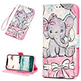 iPhone XR 6.1 inch Wallet Case, iPhone XR Case PU Leather Magnetic Closure & Kickstand Cash Credit Card Slots Wrist Strap Skin for iPhone XR 2018 Version, Elephant