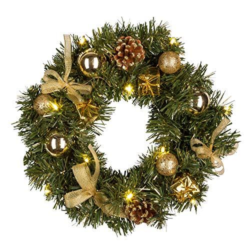 Idena Corona de Navidad con 10LED, 30cm, Funciona con Pilas, Temporizador, decoración, Oro