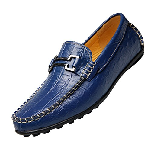 Blue Business Round Leather Shoe Waking Crocodile Shoe On Men Gaorui Toe Party Casual Boat Loafers Slip Formal Driving qgYxzwtT