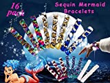 Neathouse 16 Pack Mermaid Sequin Bracelets for Party Favors,Sequin Slap Wristband for Kids and Adults